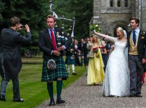 Archie piping at a wedding in Perthshire