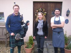 Archie, Frances Bigwood and chef Craig Grozier at Duchray Castle for launch of our Scottish culinary adventure tour 2015!
