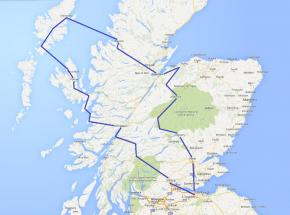 Route map for Wild Scotland tour