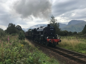 Jacobite steam train with Ben Nevis in the background