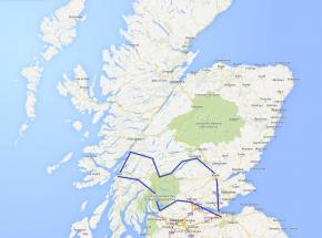 Route map for Country House and Castle Break