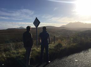 Beautiful October day on tour on the Isle of Skye with the Cuillin mountains in background...